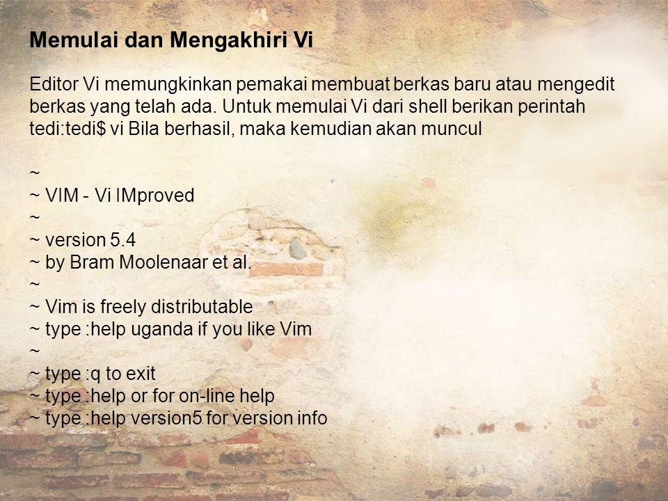 Memulai dan Mengakhiri Vi Editor Vi memungkinkan pemakai membuat berkas baru atau mengedit berkas yang telah ada.