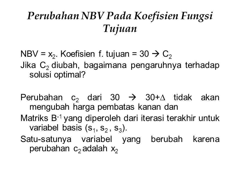 Perubahan NBV Pada Koefisien Fungsi Tujuan NBV = x 2. Koefisien f. tujuan = 30  C 2 Jika C 2 diubah, bagaimana pengaruhnya terhadap solusi optimal? P