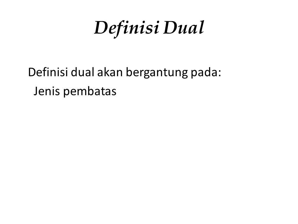 Definisi Dual Definisi dual akan bergantung pada: Jenis pembatas