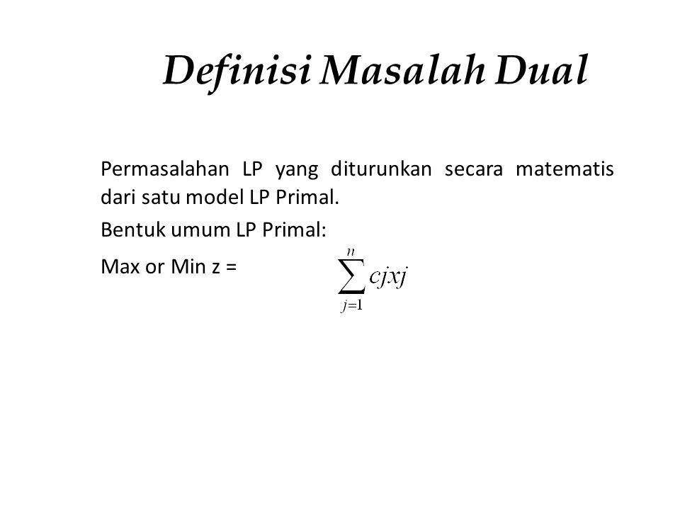Definisi Masalah Dual Permasalahan LP yang diturunkan secara matematis dari satu model LP Primal. Bentuk umum LP Primal: Max or Min z =