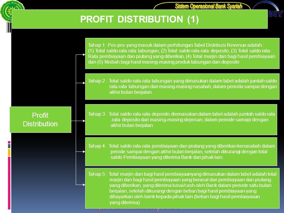 PROFIT DISTRIBUTION (1) Profit Distribution Tahap 1: Pos-pos yang masuk dalam perhitungan Tabel Distribusi Revenue adalah : (1) Total saldo rata-rata