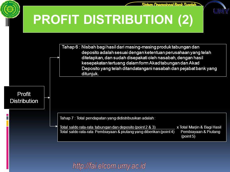 PROFIT DISTRIBUTION (2) Profit Distribution Tahap 6 : Nisbah bagi hasil dari masing-masing produk tabungan dan deposito adalah sesuai dengan ketentuan perusahaan yang telah ditetapkan, dan sudah disepakati oleh nasabah, dengan hasil kesepakatan tertuang dalam form Akad tabungan dan Akad Deposito yang telah ditandatangani nasabah dan pejabat bank yang ditunjuk.