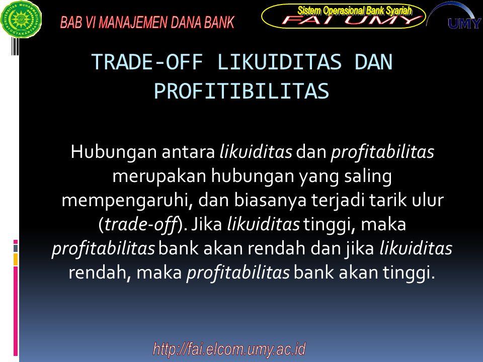 TRADE-OFF LIKUIDITAS DAN PROFITIBILITAS Hubungan antara likuiditas dan profitabilitas merupakan hubungan yang saling mempengaruhi, dan biasanya terjadi tarik ulur (trade-off).