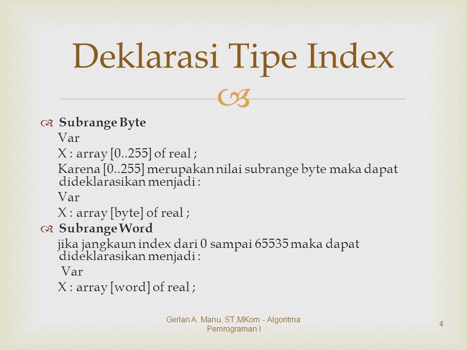   Subrange Byte Var X : array [0..255] of real ; Karena [0..255] merupakan nilai subrange byte maka dapat dideklarasikan menjadi : Var X : array [byte] of real ;  Subrange Word jika jangkaun index dari 0 sampai 65535 maka dapat dideklarasikan menjadi : Var X : array [word] of real ; Deklarasi Tipe Index Gerlan A.