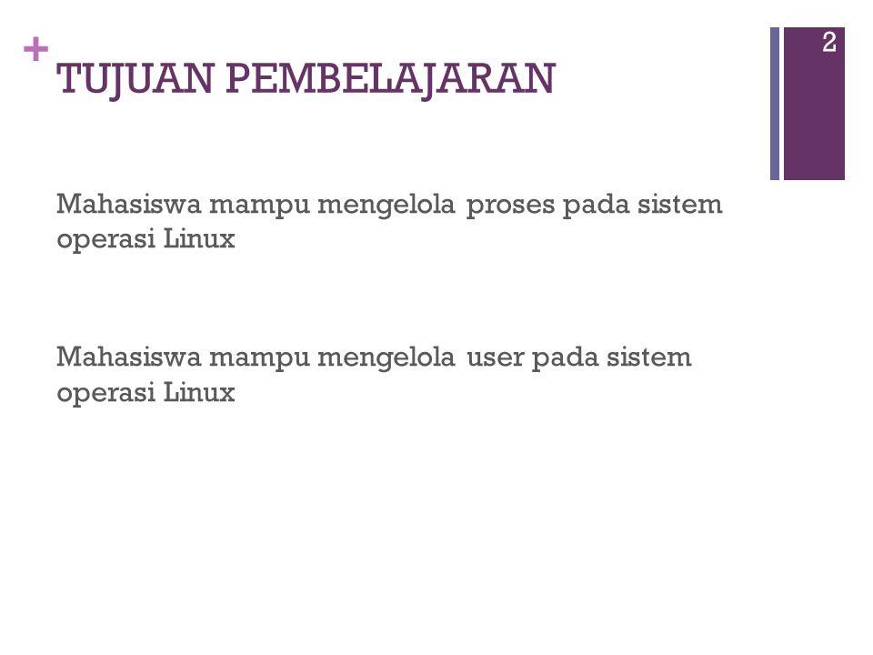 + TUJUAN PEMBELAJARAN Mahasiswa mampu mengelola proses pada sistem operasi Linux Mahasiswa mampu mengelola user pada sistem operasi Linux 2
