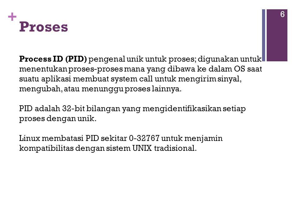 + Proses 6 Process ID (PID) pengenal unik untuk proses; digunakan untuk menentukan proses-proses mana yang dibawa ke dalam OS saat suatu aplikasi membuat system call untuk mengirim sinyal, mengubah, atau menunggu proses lainnya.