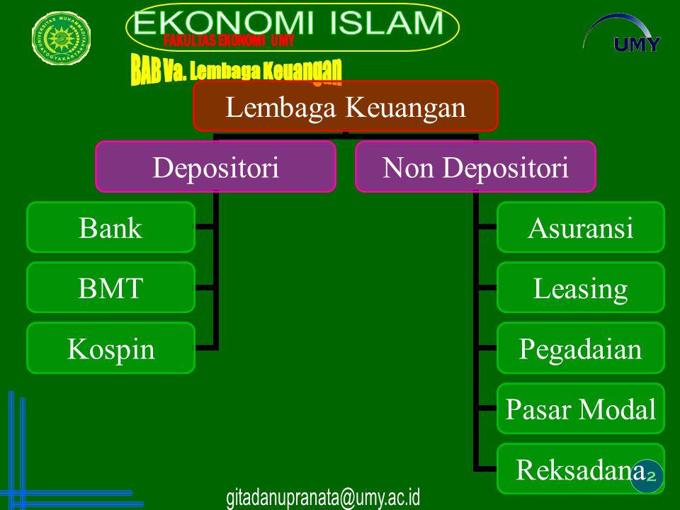 2 Lembaga Keuangan Depositori Bank BMT Kospin Non Depositori Asuransi Leasing Pegadaian Pasar Modal Reksadana