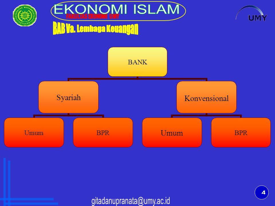 5 BANK X Kantor Cabang Syariah Kantor Cabang Konvensional