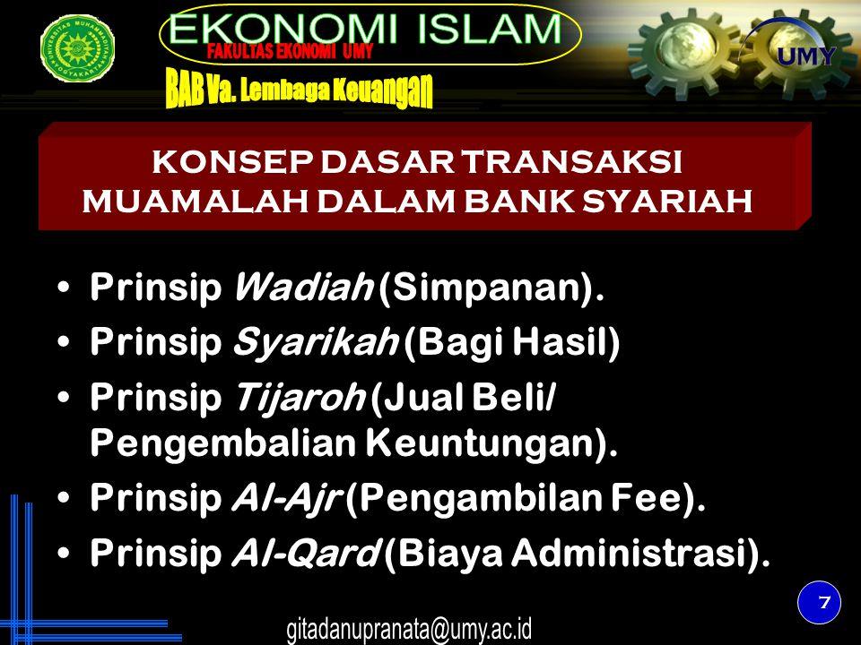 7 KONSEP DASAR TRANSAKSI MUAMALAH DALAM BANK SYARIAH Prinsip Wadiah (Simpanan). Prinsip Syarikah (Bagi Hasil) Prinsip Tijaroh (Jual Beli/ Pengembalian