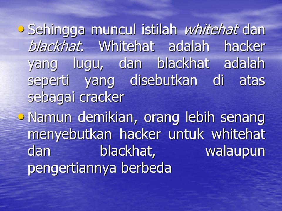 Sehingga muncul istilah whitehat dan blackhat. Whitehat adalah hacker yang lugu, dan blackhat adalah seperti yang disebutkan di atas sebagai cracker S
