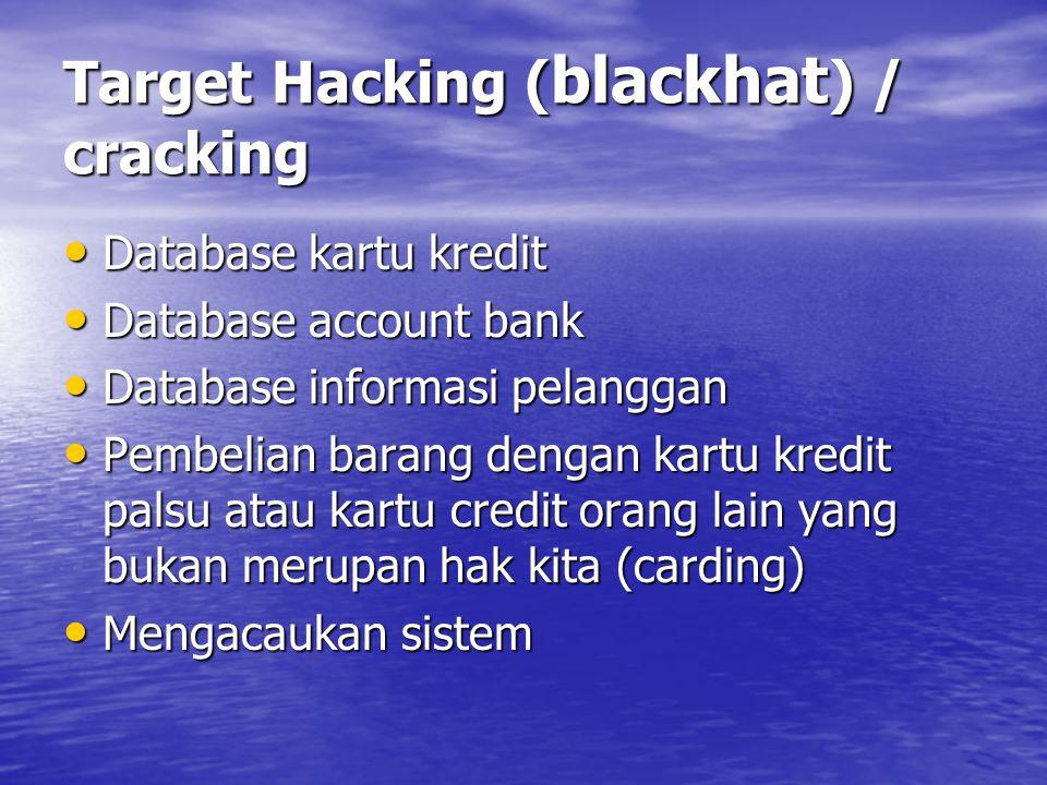 Target Hacking ( blackhat ) / cracking Database kartu kredit Database kartu kredit Database account bank Database account bank Database informasi pela