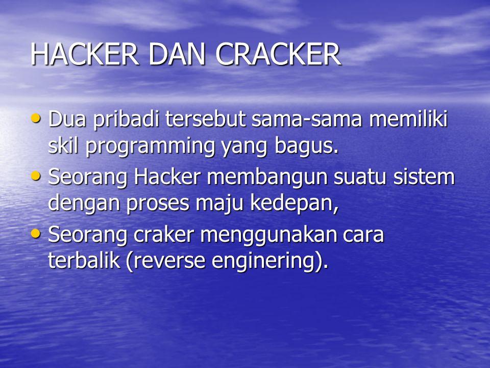 HACKER DAN CRACKER Dua pribadi tersebut sama-sama memiliki skil programming yang bagus. Dua pribadi tersebut sama-sama memiliki skil programming yang