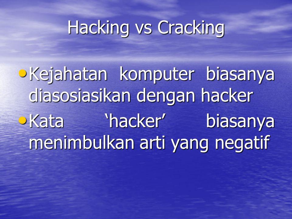 Hacking vs Cracking Kejahatan komputer biasanya diasosiasikan dengan hacker Kejahatan komputer biasanya diasosiasikan dengan hacker Kata 'hacker' bias