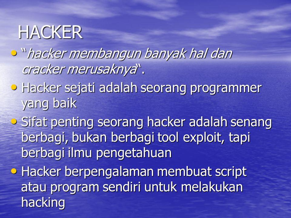 """HACKER """"hacker membangun banyak hal dan cracker merusaknya"""". """"hacker membangun banyak hal dan cracker merusaknya"""". Hacker sejati adalah seorang progra"""