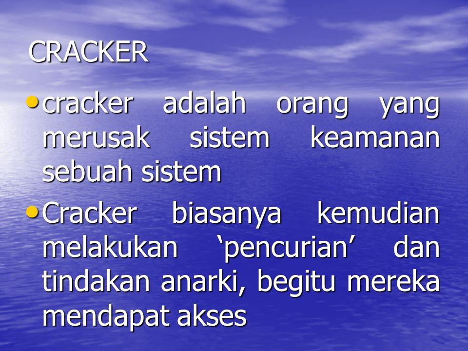 CRACKER cracker adalah orang yang merusak sistem keamanan sebuah sistem cracker adalah orang yang merusak sistem keamanan sebuah sistem Cracker biasan