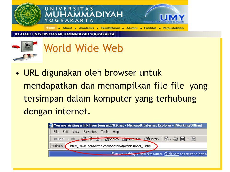 World Wide Web Uniform Resource Locator (URL) URL merupakan cara standard untuk menentukan lokasi sebuah resource dalam Internet – merupakan alamat In