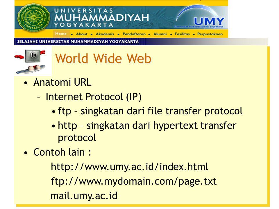 Anatomi URL –Bagian pertama URL menunjukkan protokol atau metoda akses yang digunakan. (http, ftp, email) –Bagian kedua menunjukkan letak resource --