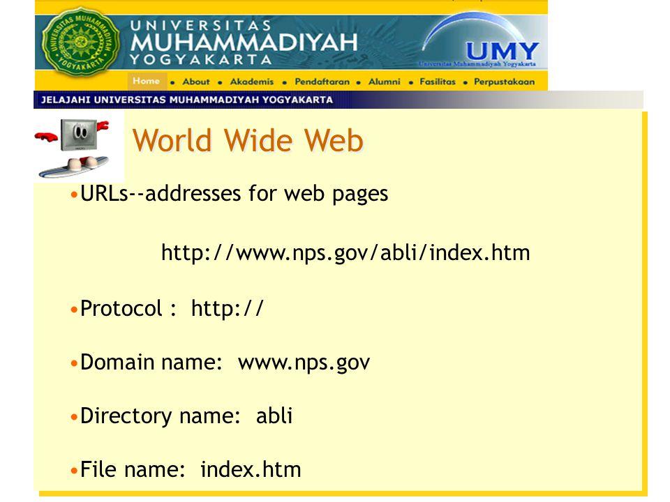 World Wide Web Anatomy of a URL –Parts of the IP address Setiap nama domain level atas (top-level domain name) mempunyai sebuah suffix yang menunjukka