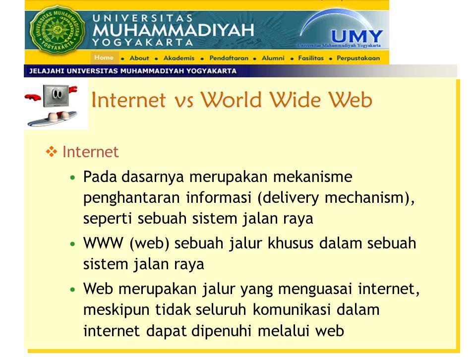 Internet Pada dasarnya merupakan mekanisme penghantaran informasi (delivery mechanism), seperti sebuah sistem jalan raya WWW (web) sebuah jalur khusus dalam sebuah sistem jalan raya Web merupakan jalur yang menguasai internet, meskipun tidak seluruh komunikasi dalam internet dapat dipenuhi melalui web