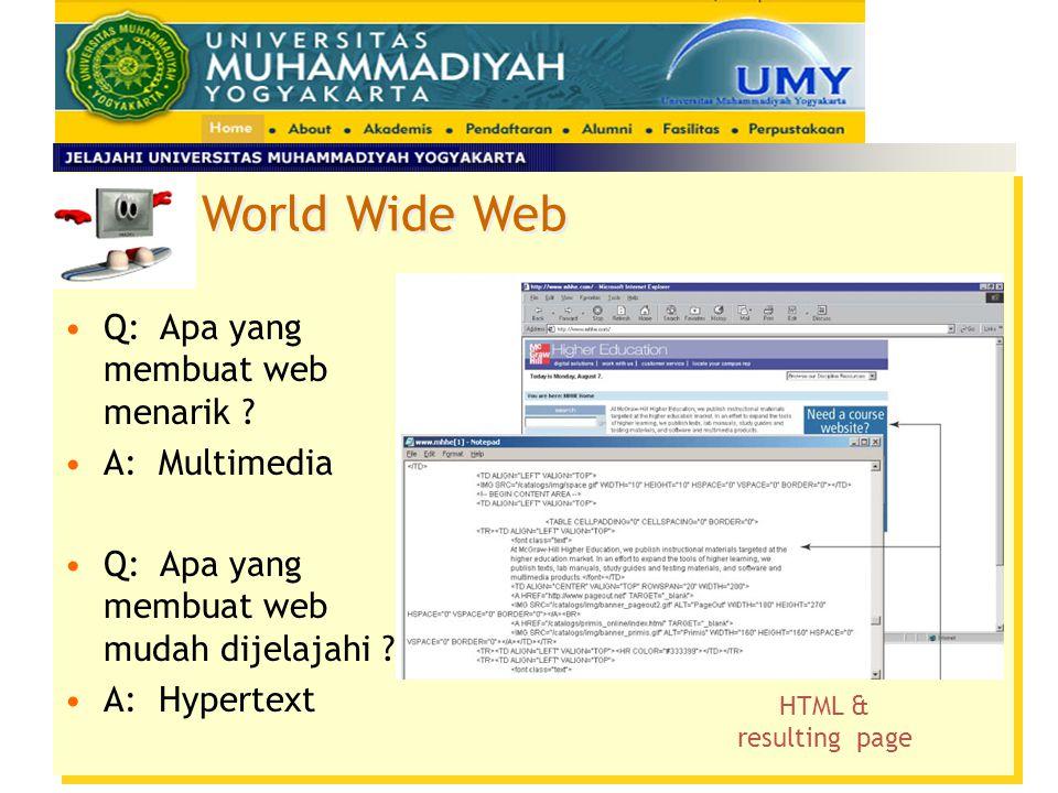 Q: Apa yang membuat web menarik .A: Multimedia Q: Apa yang membuat web mudah dijelajahi .