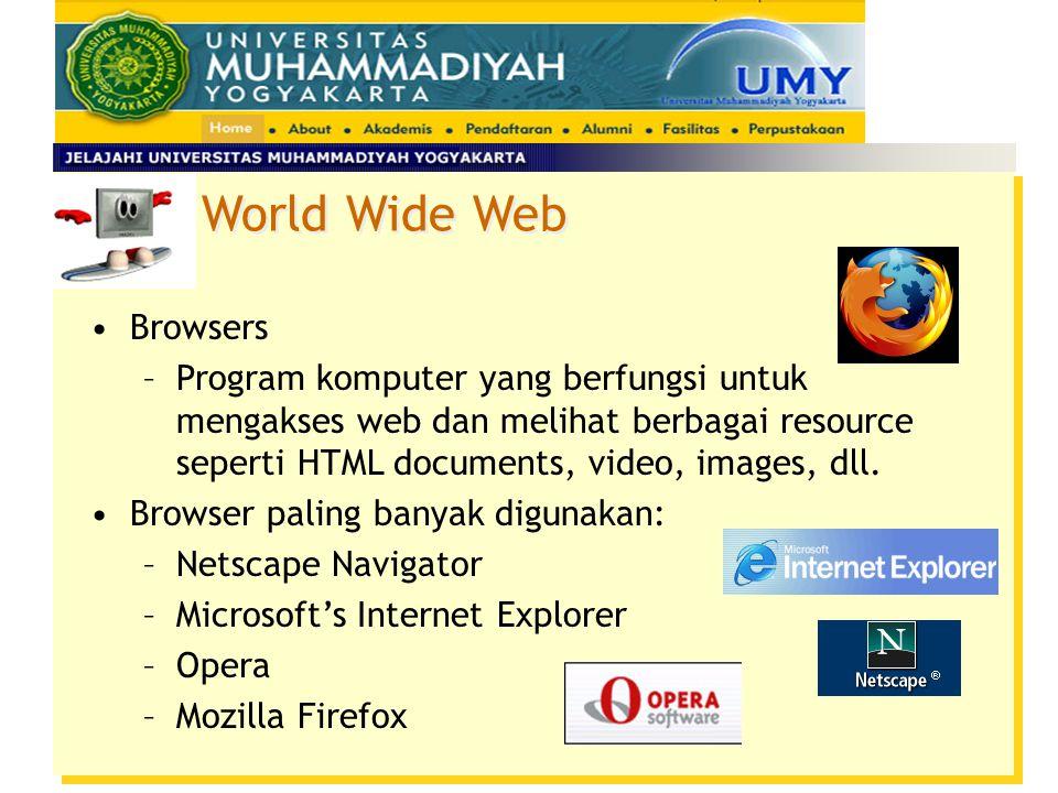 World Wide Web Anatomi URL –Bagian alamat IP prefix.domain name.suffix Contoh : http://www.saturn.com http://gator.gasd.k12.pa.us http://searchengineshowdown.com