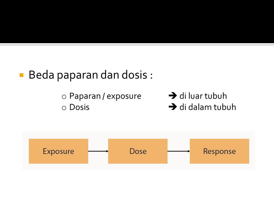  Beda paparan dan dosis : o Paparan / exposure  di luar tubuh o Dosis  di dalam tubuh