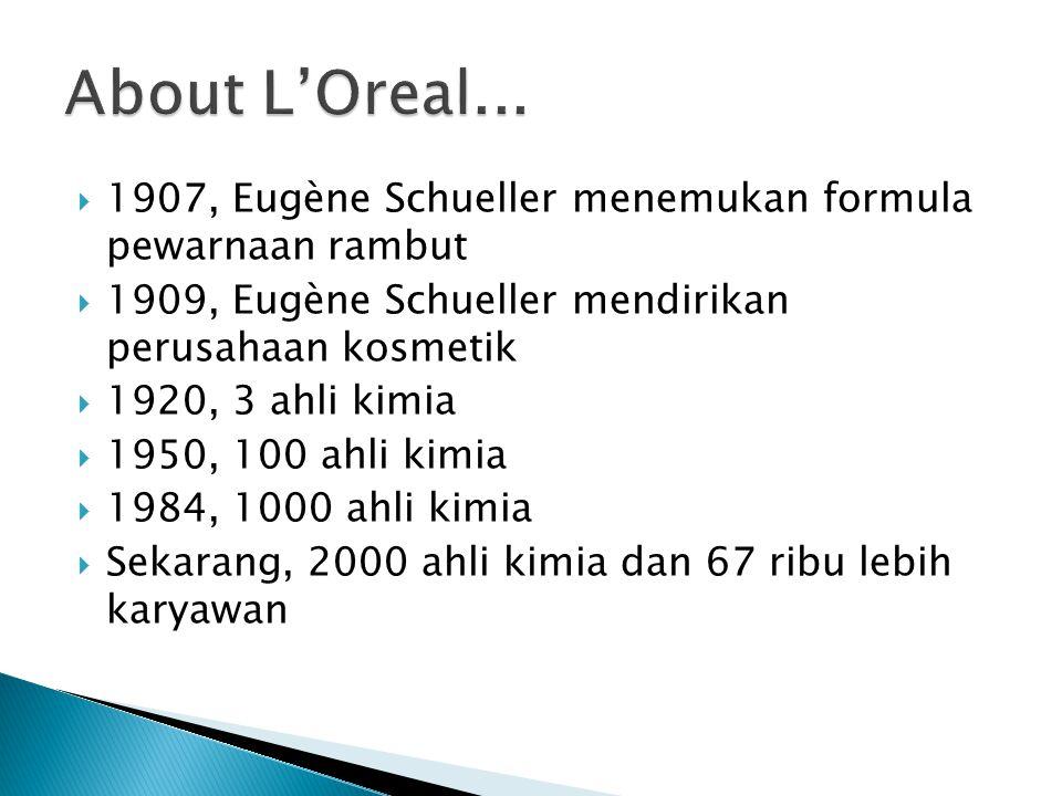  1907, Eugène Schueller menemukan formula pewarnaan rambut  1909, Eugène Schueller mendirikan perusahaan kosmetik  1920, 3 ahli kimia  1950, 100 ahli kimia  1984, 1000 ahli kimia  Sekarang, 2000 ahli kimia dan 67 ribu lebih karyawan