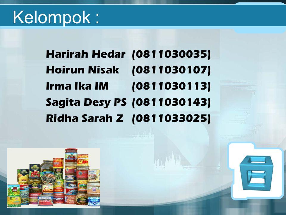 Kelompok : Harirah Hedar(0811030035) Hoirun Nisak(0811030107) Irma Ika IM(0811030113) Sagita Desy PS(0811030143) Ridha Sarah Z(0811033025)