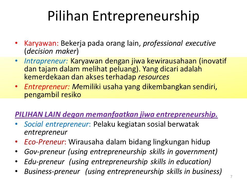 Pilihan Entrepreneurship Karyawan: Bekerja pada orang lain, professional executive (decision maker) Intrapreneur: Karyawan dengan jiwa kewirausahaan (inovatif dan tajam dalam melihat peluang).