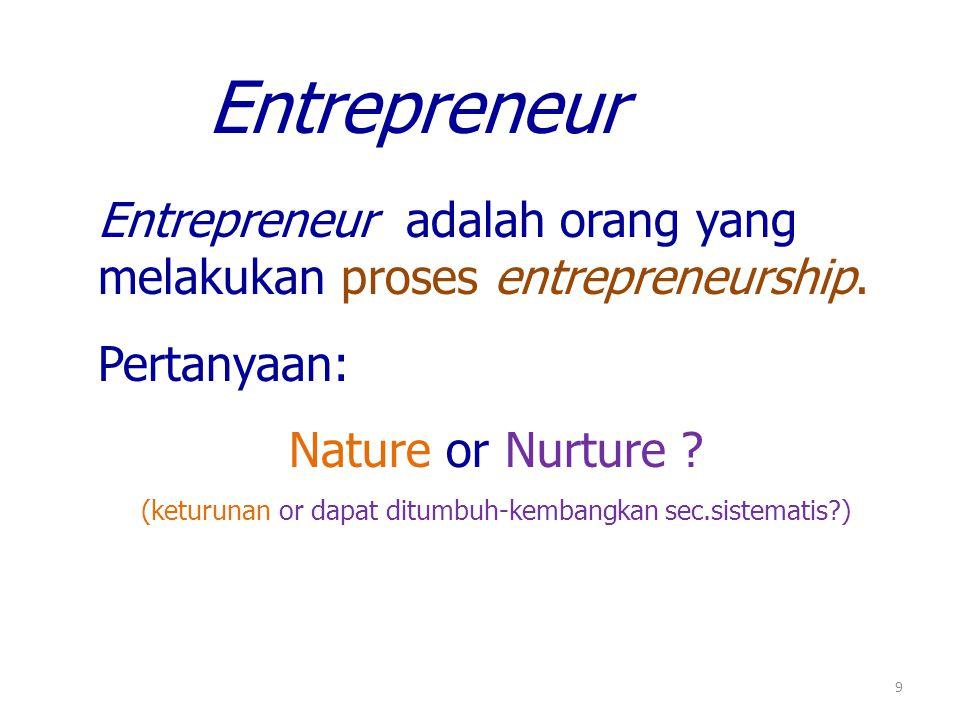9 Entrepreneur adalah orang yang melakukan proses entrepreneurship.