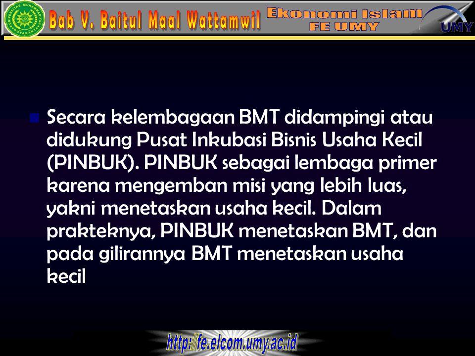 2 Secara kelembagaan BMT didampingi atau didukung Pusat Inkubasi Bisnis Usaha Kecil (PINBUK). PINBUK sebagai lembaga primer karena mengemban misi yang
