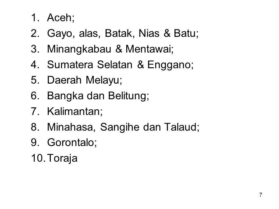 7 1.Aceh; 2.Gayo, alas, Batak, Nias & Batu; 3.Minangkabau & Mentawai; 4.Sumatera Selatan & Enggano; 5.Daerah Melayu; 6.Bangka dan Belitung; 7.Kalimantan; 8.Minahasa, Sangihe dan Talaud; 9.Gorontalo; 10.Toraja
