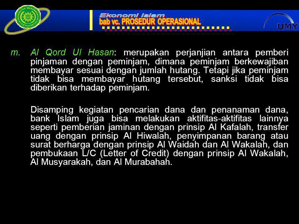 20 m.Al Qord Ul Hasan: merupakan perjanjian antara pemberi pinjaman dengan peminjam, dimana peminjam berkewajiban membayar sesuai dengan jumlah hutang.