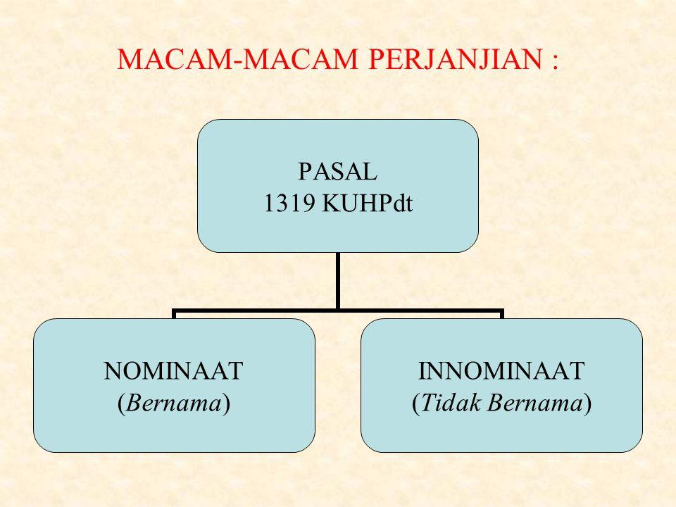 MACAM-MACAM PERJANJIAN : PASAL 1319 KUHPdt NOMINAAT (Bernama) INNOMINAAT (Tidak Bernama)