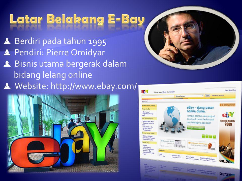  Berdiri pada tahun 1995  Pendiri: Pierre Omidyar  Bisnis utama bergerak dalam bidang lelang online  Website: http://www.ebay.com/