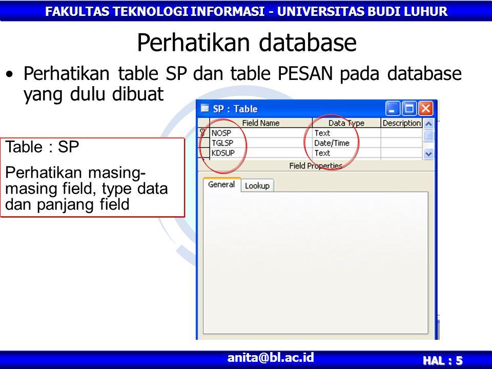 FAKULTAS TEKNOLOGI INFORMASI - UNIVERSITAS BUDI LUHUR HAL : 5 anita@bl.ac.id Perhatikan database Perhatikan table SP dan table PESAN pada database yang dulu dibuat Table : SP Perhatikan masing- masing field, type data dan panjang field