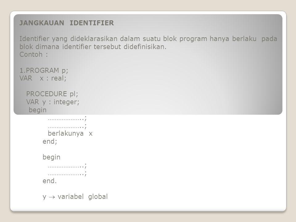 JANGKAUAN IDENTIFIER Identifier yang dideklarasikan dalam suatu blok program hanya berlaku pada blok dimana identifier tersebut didefinisikan. Contoh