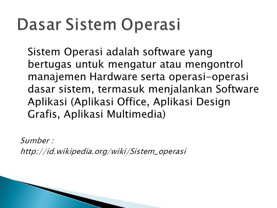 Sistem Operasi adalah software yang bertugas untuk mengatur atau mengontrol manajemen Hardware serta operasi-operasi dasar sistem, termasuk menjalanka