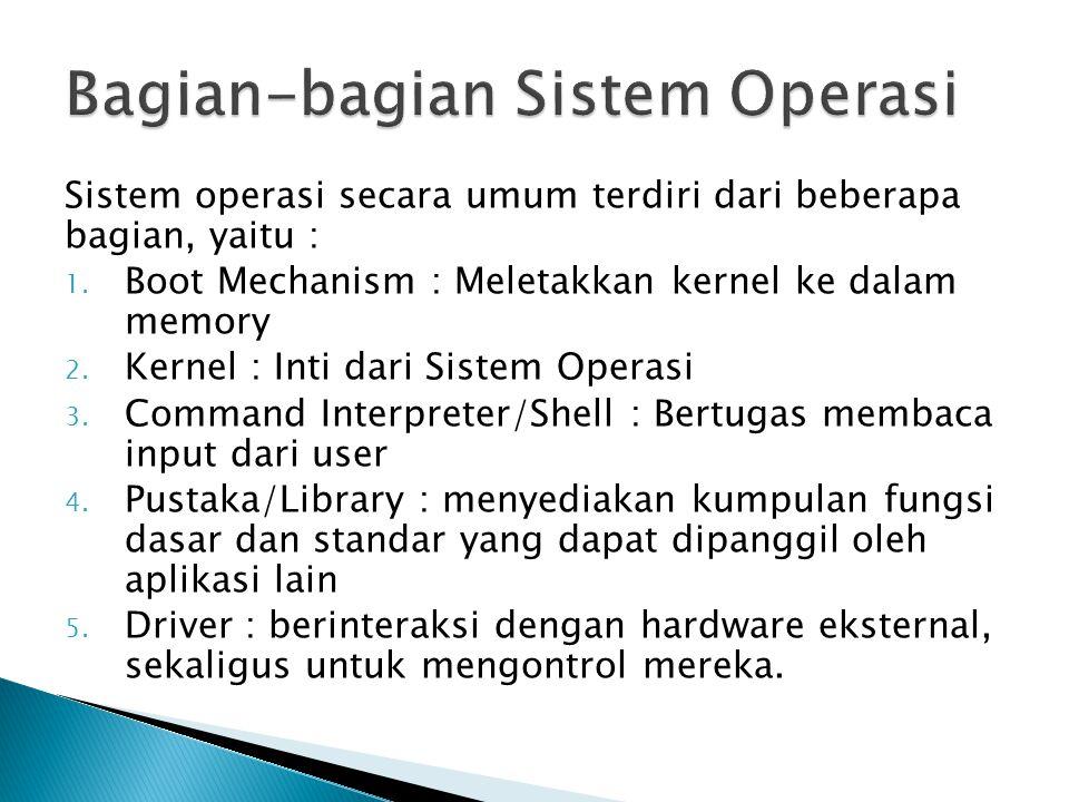 Sistem operasi secara umum terdiri dari beberapa bagian, yaitu : 1. Boot Mechanism : Meletakkan kernel ke dalam memory 2. Kernel : Inti dari Sistem Op