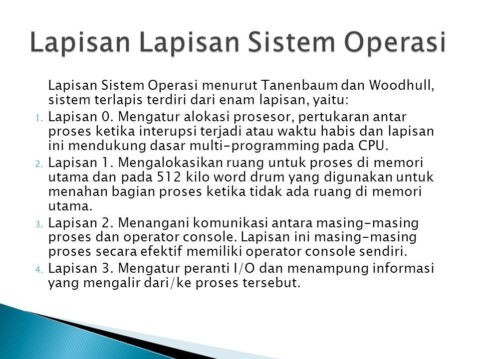Lapisan Sistem Operasi menurut Tanenbaum dan Woodhull, sistem terlapis terdiri dari enam lapisan, yaitu: 1. Lapisan 0. Mengatur alokasi prosesor, pert