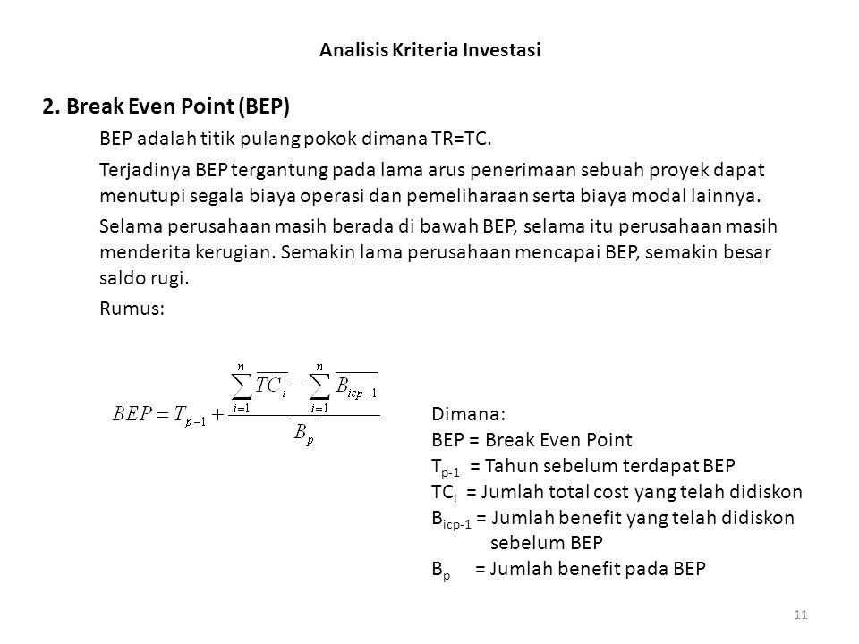11 Analisis Kriteria Investasi 2. Break Even Point (BEP) BEP adalah titik pulang pokok dimana TR=TC. Terjadinya BEP tergantung pada lama arus penerima