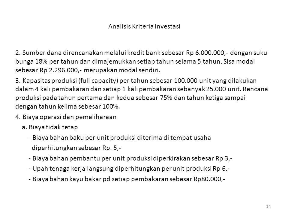 14 Analisis Kriteria Investasi 2. Sumber dana direncanakan melalui kredit bank sebesar Rp 6.000.000,- dengan suku bunga 18% per tahun dan dimajemukkan