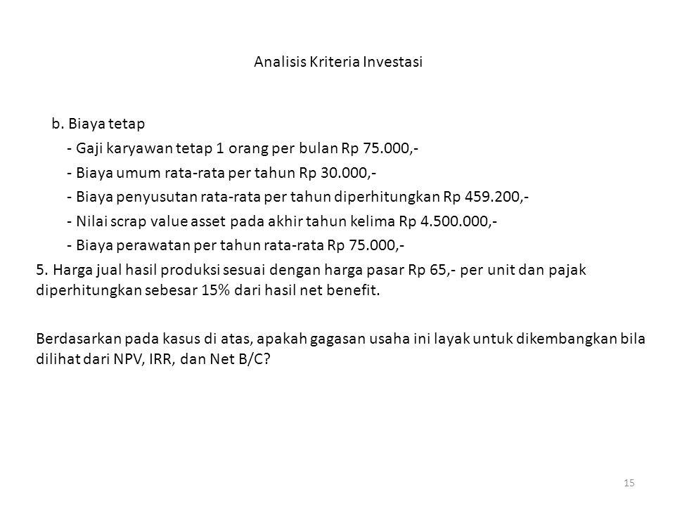 15 Analisis Kriteria Investasi b. Biaya tetap - Gaji karyawan tetap 1 orang per bulan Rp 75.000,- - Biaya umum rata-rata per tahun Rp 30.000,- - Biaya