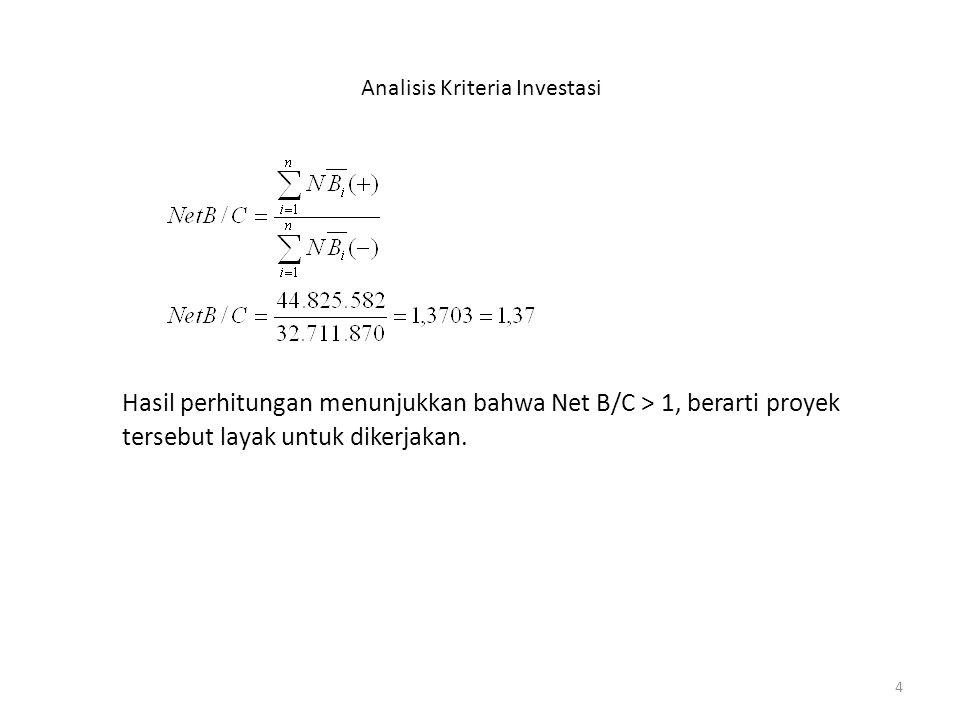4 Analisis Kriteria Investasi Hasil perhitungan menunjukkan bahwa Net B/C > 1, berarti proyek tersebut layak untuk dikerjakan.