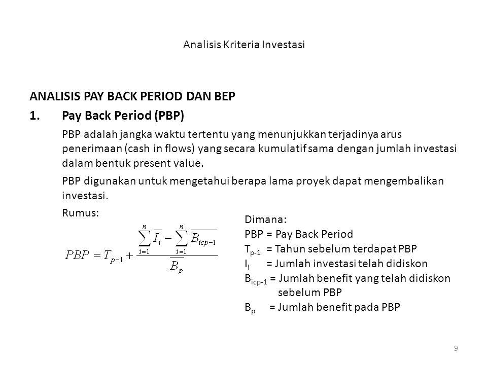 9 Analisis Kriteria Investasi ANALISIS PAY BACK PERIOD DAN BEP 1.Pay Back Period (PBP) PBP adalah jangka waktu tertentu yang menunjukkan terjadinya arus penerimaan (cash in flows) yang secara kumulatif sama dengan jumlah investasi dalam bentuk present value.