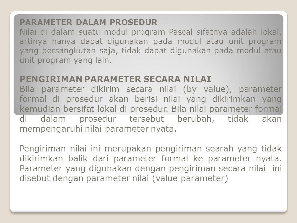 PARAMETER DALAM PROSEDUR Nilai di dalam suatu modul program Pascal sifatnya adalah lokal, artinya hanya dapat digunakan pada modul atau unit program y