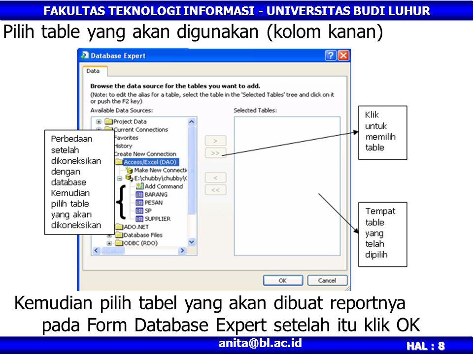 FAKULTAS TEKNOLOGI INFORMASI - UNIVERSITAS BUDI LUHUR HAL : 8 anita@bl.ac.id Pilih table yang akan digunakan (kolom kanan) Kemudian pilih tabel yang a
