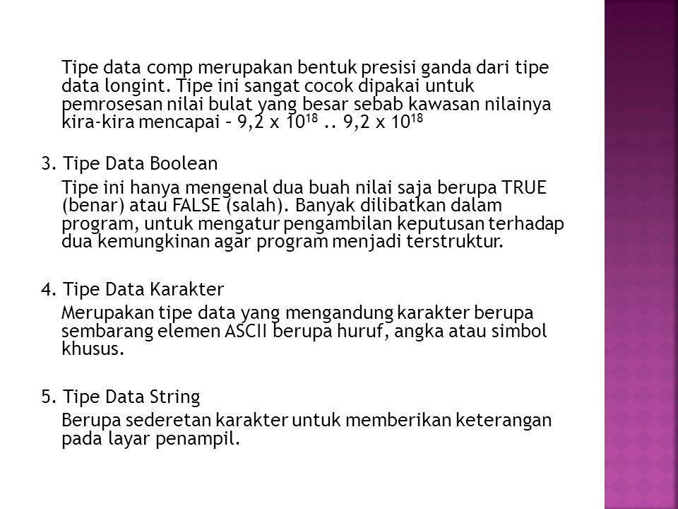 Tipe data comp merupakan bentuk presisi ganda dari tipe data longint. Tipe ini sangat cocok dipakai untuk pemrosesan nilai bulat yang besar sebab kawa