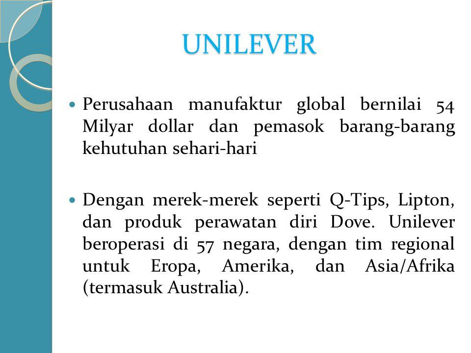 UNILEVER Perusahaan manufaktur global bernilai 54 Milyar dollar dan pemasok barang-barang kehutuhan sehari-hari Dengan merek-merek seperti Q-Tips, Lipton, dan produk perawatan diri Dove.