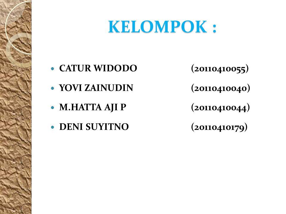 KELOMPOK : CATUR WIDODO(20110410055) YOVI ZAINUDIN(20110410040) M.HATTA AJI P(20110410044) DENI SUYITNO(20110410179)